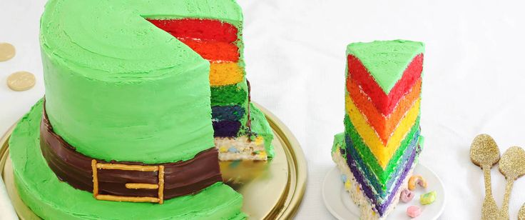 What sort of cake would Lucky the Leprechaun enjoy most?  One with a colorful rainbow inside, of course. It's magically delicious!