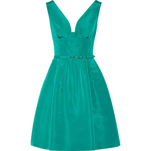 Oscar de la Renta Belted silk-faille dress ($1,565) ❤ liked on Polyvore featuring dresses, jade, pleated dress, blue silk dress, oscar de la renta, blue dress and faille dress
