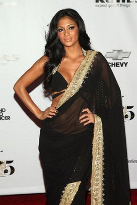 Rocky S black saree - very sexy blouse
