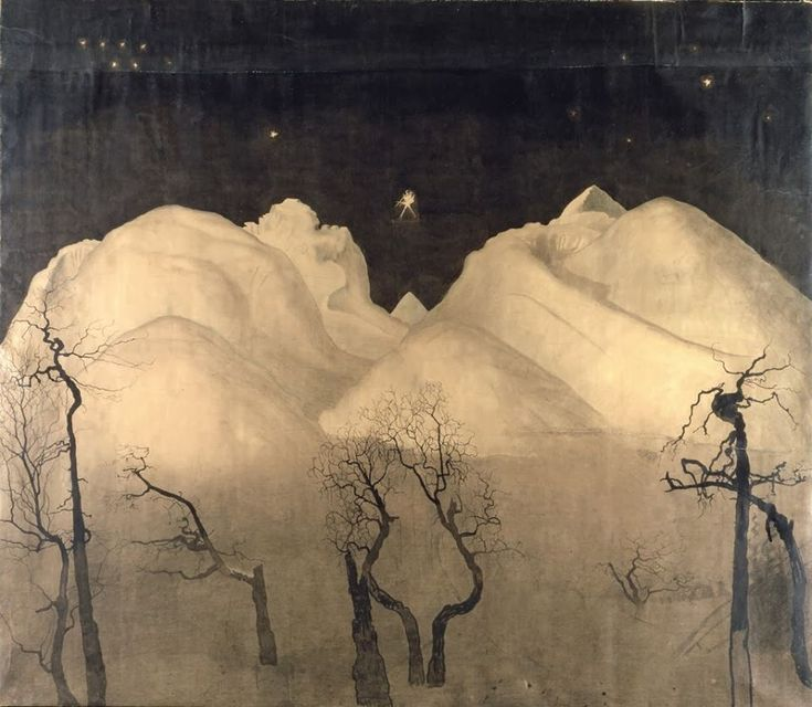 Winter Night in the Mountains, 1901-02 Fine Art Print by Harald Oscar Sohlberg