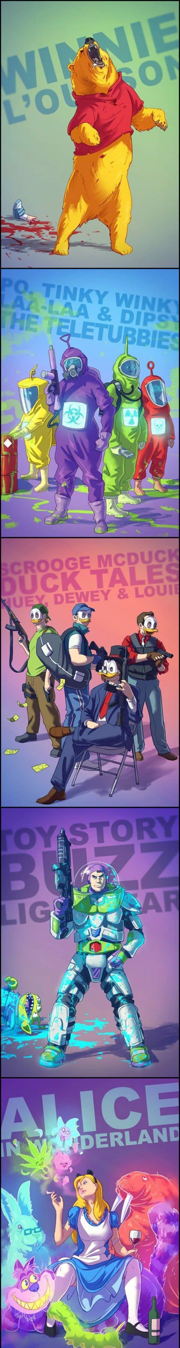 Reimagined cartoons - Adeus infância Ç-Ç #cartoons #disney | In a creepy adult world | Winnie The poo, The teletubbies, Duck Tales, Toy story - buzz, Alice in wonderland