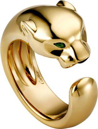 Panthère de Cartier ring Yellow gold, onyx, tsavorite garnet
