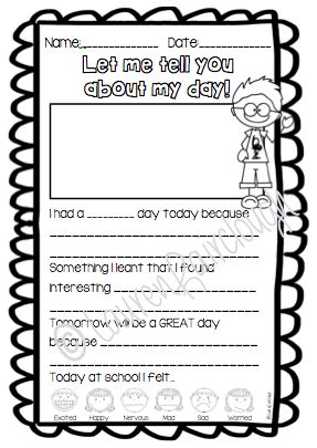 Kindergarten, First, Second and Third Grade daily writing prompts.  Perfect activity to finish the  day for students to reflect on what they have learnt.  Would work perfectly as a homework journal for students to share information about their day with their parents while consolidating their learning and practising important writing skills!