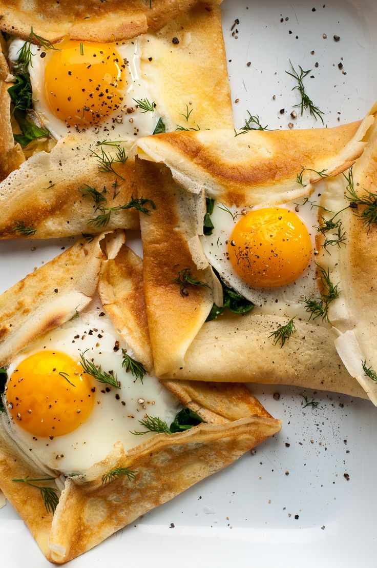 Savory Crepes with Cheese, Spinach, and a Fried Egg — Amanda Frederickson