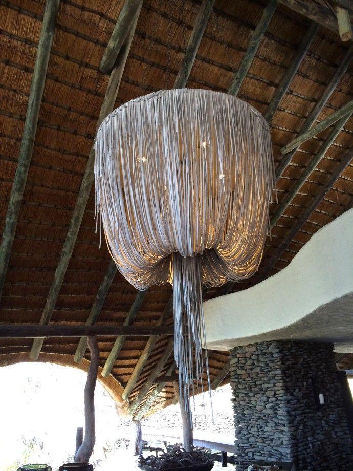 Love this fringed leather 'chandelier' at Boulders Lodge, SINGITA SABI SAND , South Africa Safari Chic   Slim Paley