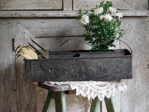 vintage metal tote with handle industrial tool box carrier with dividers farmhouse garden decor - Farmhouse Garden Decor