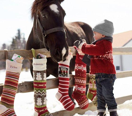 Reindeer Classic Fair Isle Stocking Christmas Horses