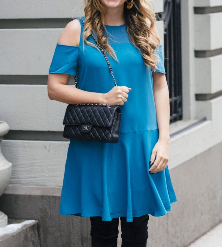 Shop this look at The Stripe Store | Lookave #dress #coldshoulder #blue #bluedress #coldshoulderdress @thestripe @cooper&emilia #ootd #onlineshopping #lookave #onlineshopping #streetstyle #style #fashion #outfit