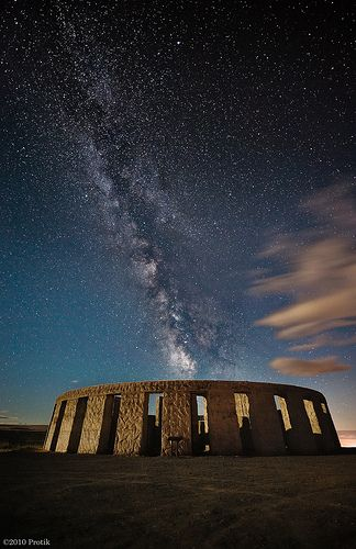 Moonlit Stonehenge Replica Under Milky Way - Goldendale,  Washington