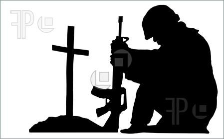 siluet milatary | Illustration of silhouette of a soldier kneeling next to the grave of ...