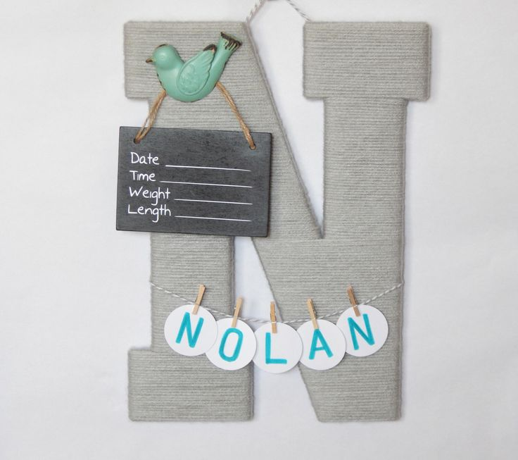 A personal favorite from my Etsy shop https://www.etsy.com/listing/386437104/letter-n-hospital-door-baby-boy