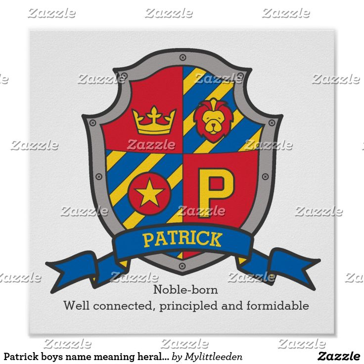 Patrick boys name meaning heraldry shield letter P poster by www.mylittleeden on zazzle ##namemeanings #patrick
