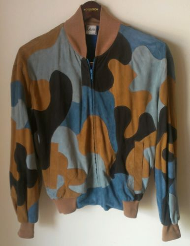 Vintage Krizia Suede Camo Blouson Jacket in luscious caramel, black, ice & teal.