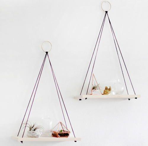 Simply Chic Hanging Homemade Shelves