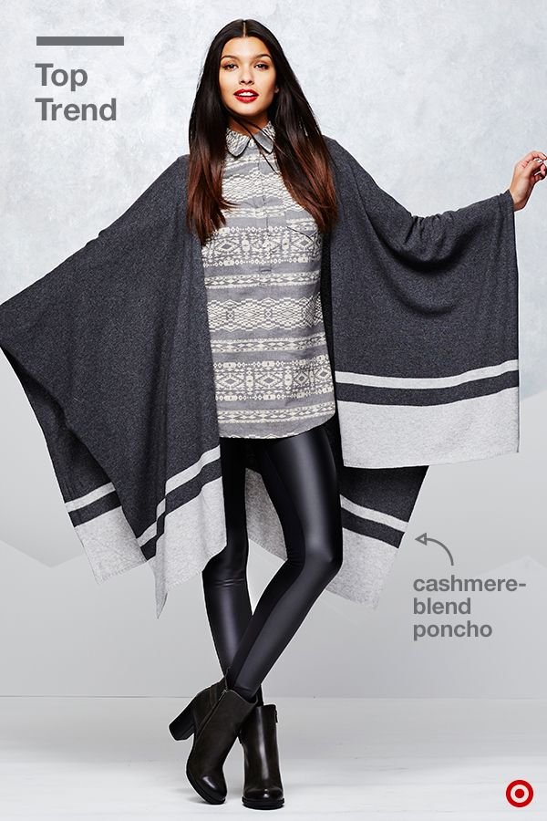 Elevate your holiday style with this season's top trend over your shoulder: the poncho. The neutral grays on this poncho allow you to style it with other easy neutrals—shades of ivory, gray and black add a casual luxury anyone can pull off. Where will you get your contrast? Mix the cashmere-blend poncho with cool leather pants. The variation in fit and texture creates instant winter-style success.