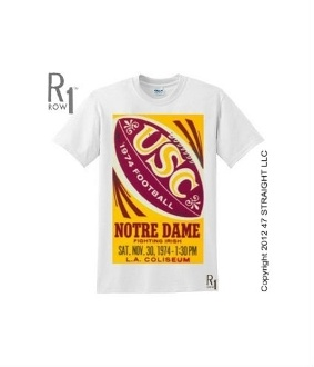 Down 24-0 to Notre Dame? No problem. USC scored 55 unanswered points to win 55-24. This ROW 1™ USC football shirt is made from an authentic 1974 USC football ticket to this historic USC football game at the Coliseum. Perfect vintage USC football shirt for USC fans this 2012 college football season.