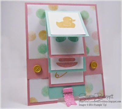 Custom Cardstock, Something for Baby Stamp Set, Waterfall Card Fancy Folding Cards,