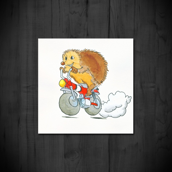 Hedgehog on a motorbike. Illustration by Designbyrolf