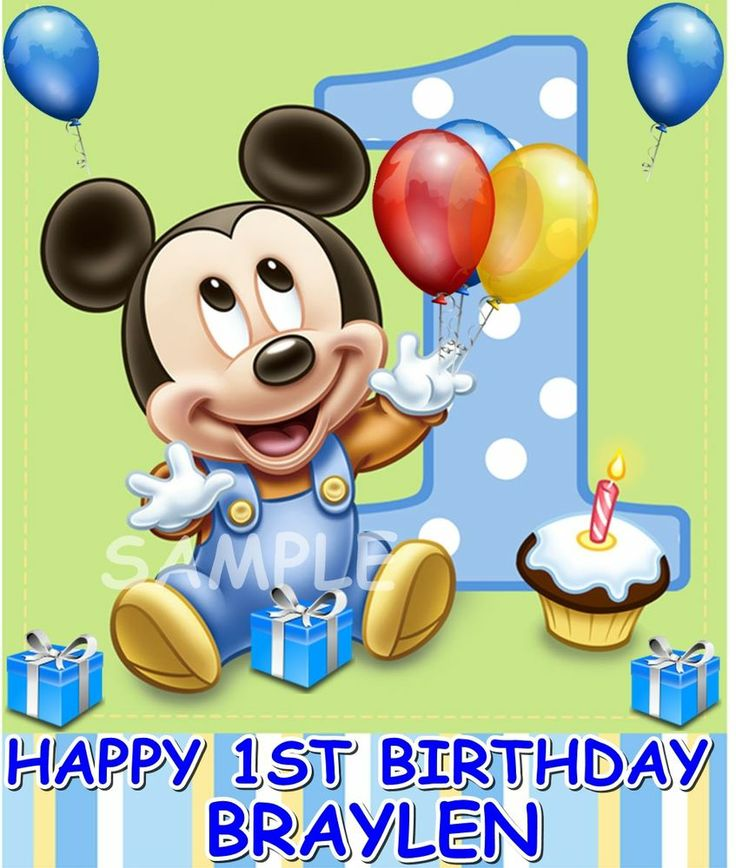 Baby mickey mouse 1st birthday edible cake topper ...