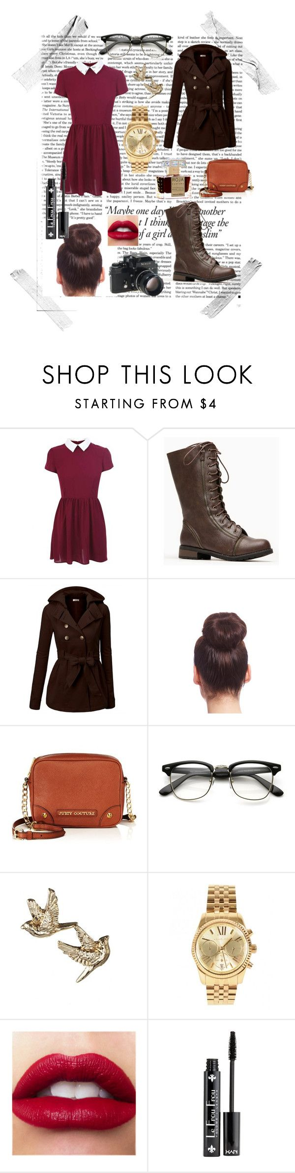 """""""Got Any News?"""" by gingy333 ❤ liked on Polyvore featuring Victoria Beckham, J.TOMSON, 2b bebe, Juicy Couture, Nikon, Michael Kors, NYX and Roja Parfums"""