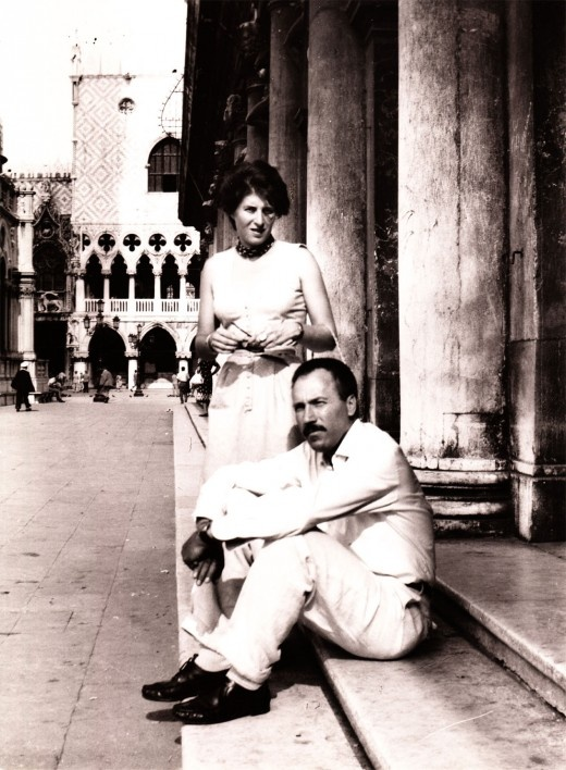 Photograph of Ida Barbarigo and Zoran Music in Venice, 1950