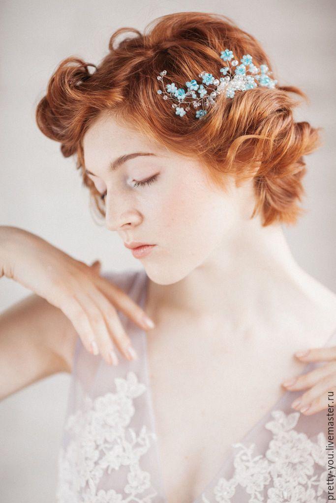 Wedding Hair Pin | Купить Гребень свадебный хрустальный Украшение свадебное для прически невесты - голубой, белый, хрусталь, прозрачное