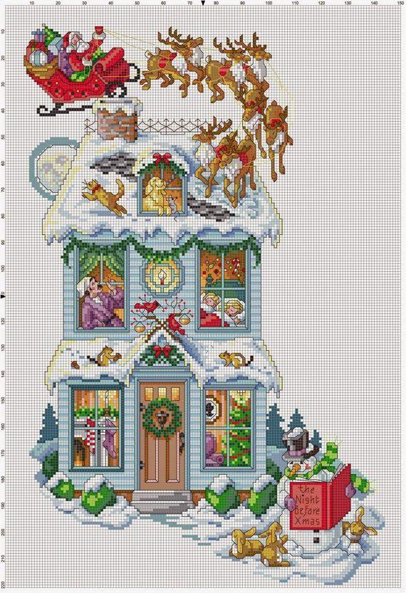Hobby lavori femminili - ricamo - uncinetto - maglia: Schema punto croce Casa Natalizia
