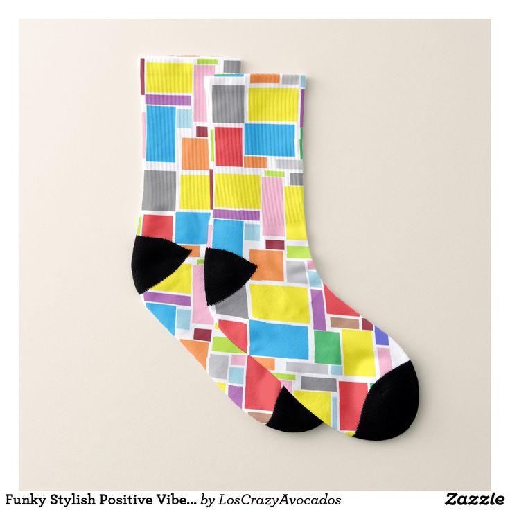 Funky Stylish Positive Vibes Colors Blocks Socks