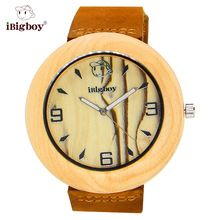 iBigboy Wooden Watch Round Men Watches Environmental Maple Zebrawood Japan Quartz Leather Band Casual Wristwatches For Men (China (Mainland))