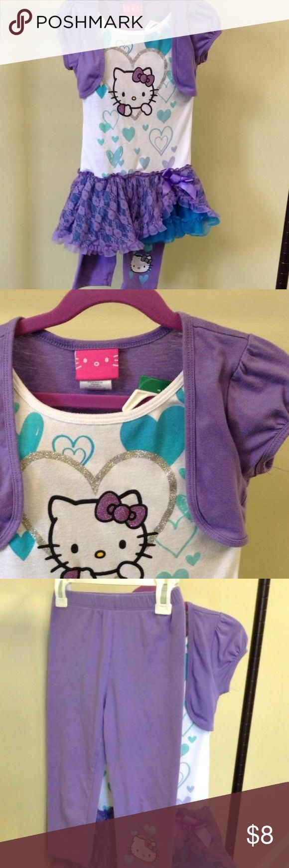 Hello kitty frilly shirt and legging set Sanrio Hello Kitty shirtdress and matching legging set. Size small. Excellent condition Hello Kitty Dresses
