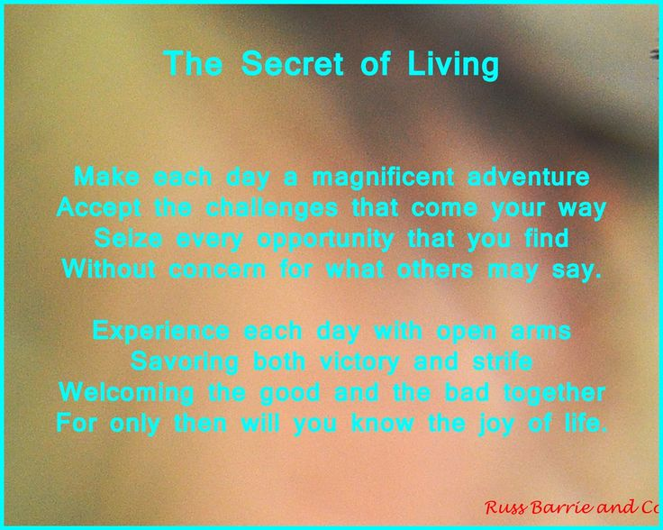 YOUR Life in YOUR Hands: My Daily Affirmation 17th January - the secret of life perhaps?