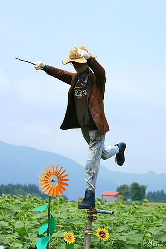 humorous scarecrow (I love the fact that he looks Japanese) (at least it looks to me as if it could be a Japanese gentleman-on my computer-it's a little tough to see though)
