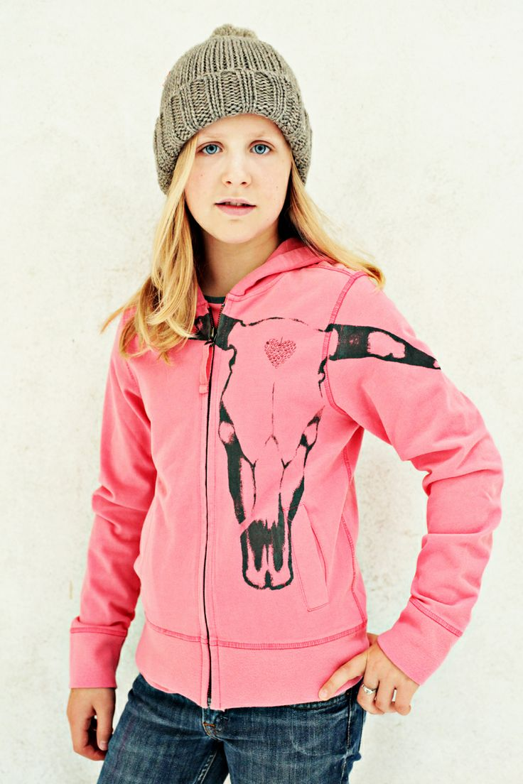 Coole Girls Sweat Jacke mit Kapuze Design 'Torro' mit 'Herz' Applikation, Color Flamingo