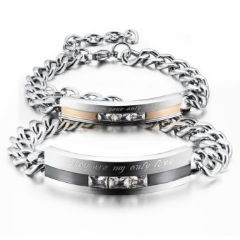 """Stainless Steel """" you are my only Love"""" Link Chain Bracelet for Men /Women, A pair"""