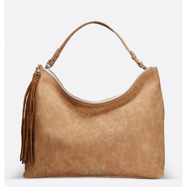 Avenue Ontario Hobo Handbag ($45) ❤ liked on Polyvore featuring bags, handbags, shoulder bags, plus size, tan, hobo handbags, fringe purse, handbags purses, shoulder strap handbags and white handbags