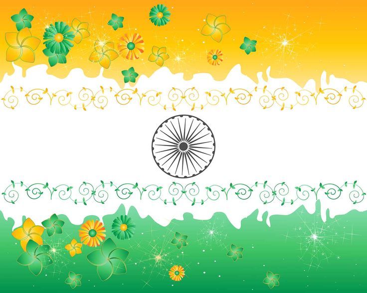 Flags of Countries – Three Colors as Flags of India Symbol with Floral Ornaments