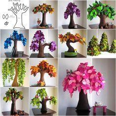 DIY Handmade Creative Felt Trees from Template