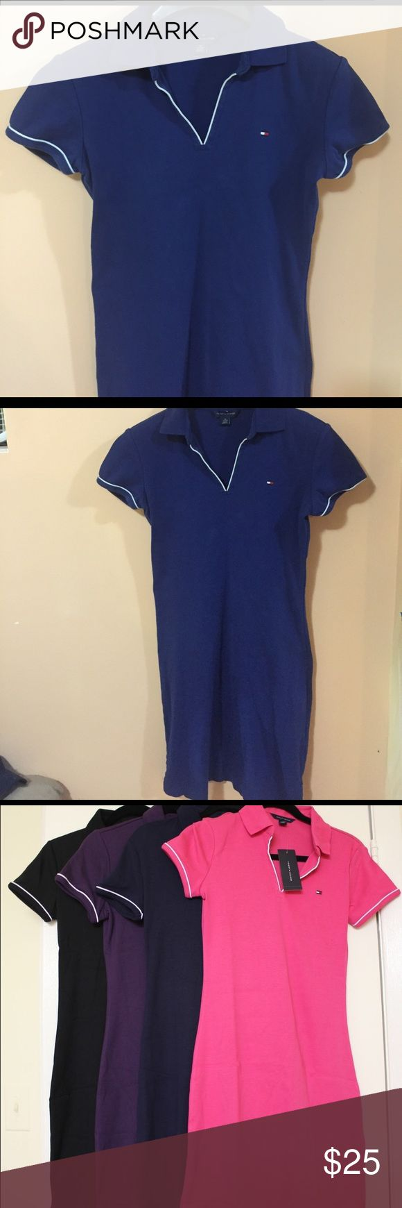 Tommy Hilfiger Polo Dress Worn once or twice! Its not a tight fitting dress, more like tennis style but up to knees. 100% cotton, color is deep blue! The other pics just for an example. Tommy Hilfiger Dresses Midi