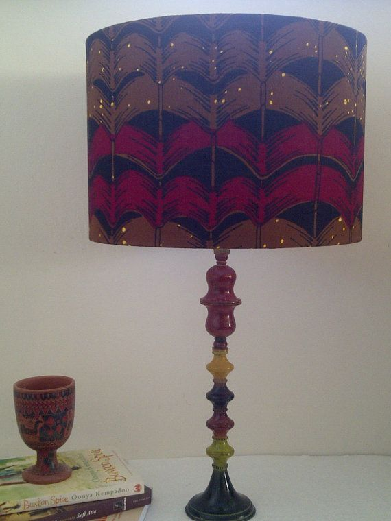 Red Brown Wavy Lampshade Dorm Room Man Cave Decor Back