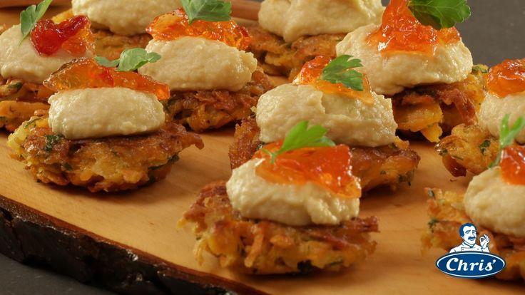 sweet potato rosti with hummus and chilli jam