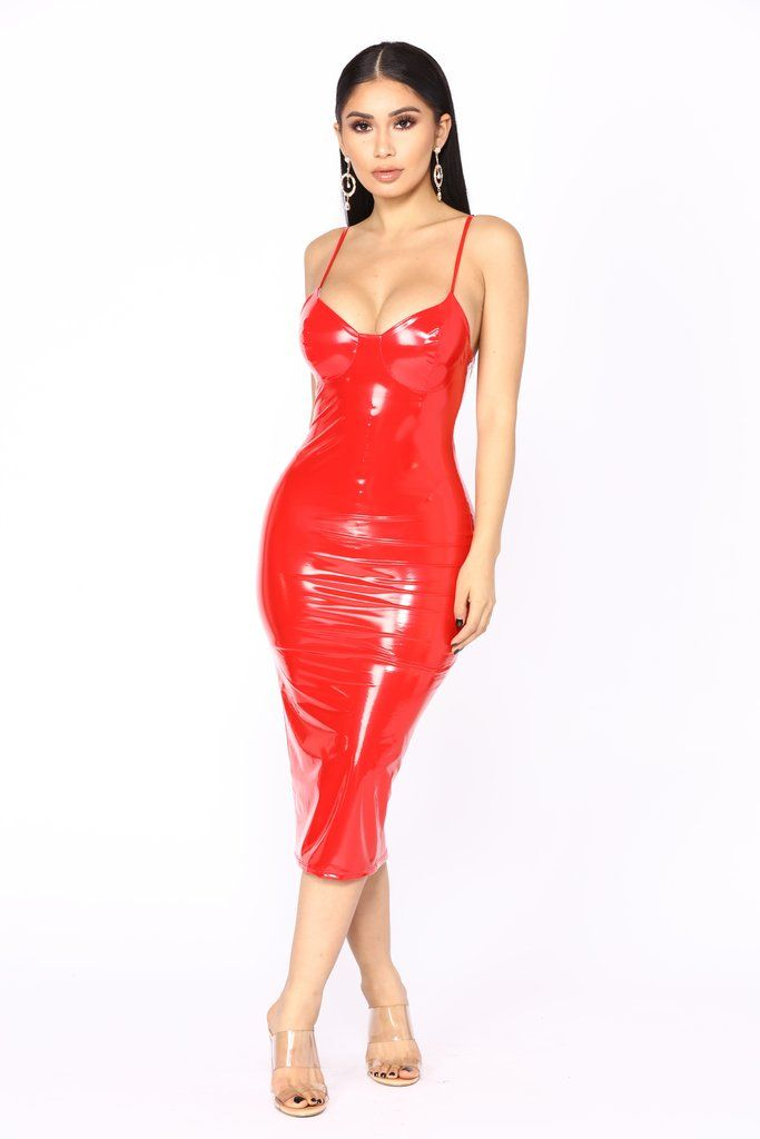 Wake Up The Neighbors Latex Dress - Red