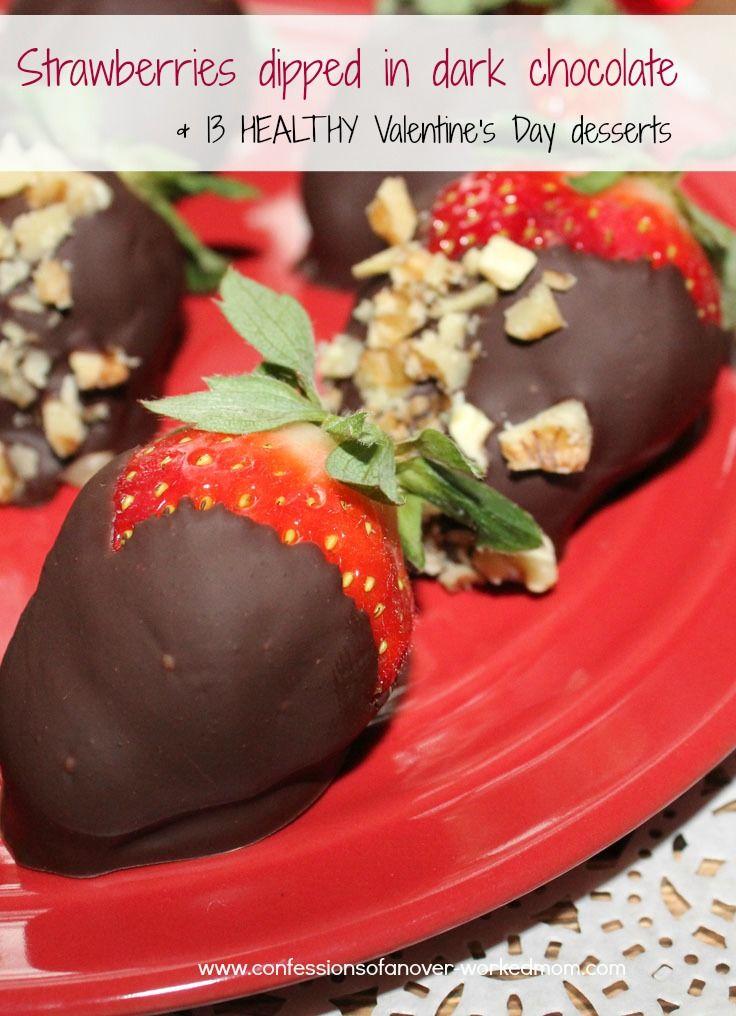 Healthy Valentine's Day Dessert Roundup & how to make strawberries dipped in dark chocolate #sponsored