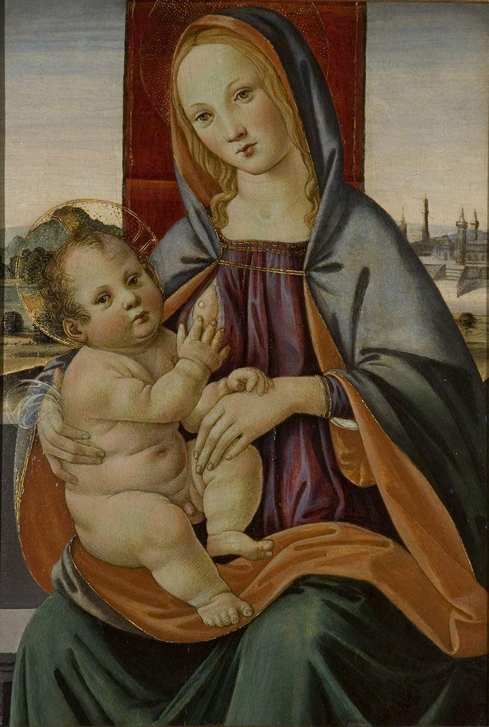Lorenzo di Credi (Scuola di) - Madonna col bambino -  c. 1510  - Galleria d'arte medioevale e rinascimentale, antiquariato opere d'arte - Legnano Milano