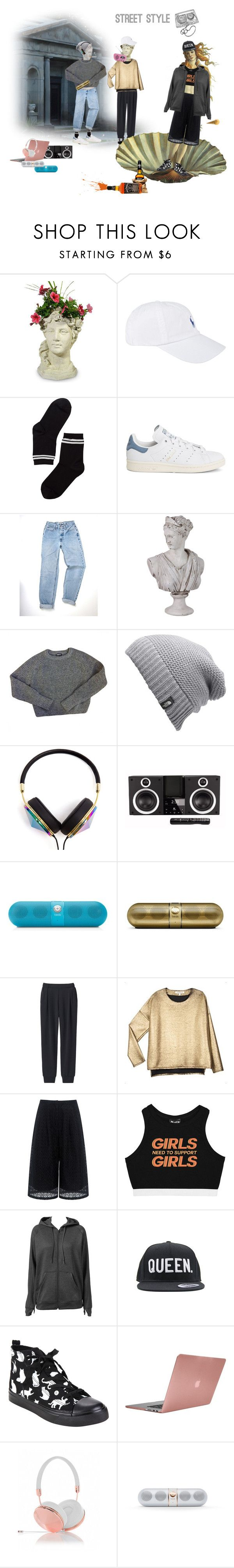 """""""Street style"""" by elisacipolla ❤ liked on Polyvore featuring Polo Ralph Lauren, Monki, adidas, Urban Trends Collection, American Apparel, The North Face, Frends, Elite, Beats by Dr. Dre and Uniqlo"""