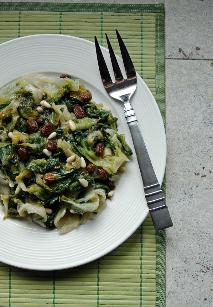 Escarole with Raisins and Pine Nuts - Cooking with Mamma C #vegan #glutenfree