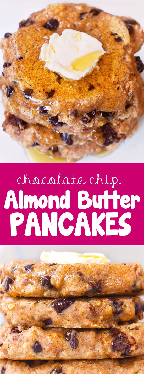 Extra fluffy & oil-free chocolate chip almond butter pancakes, so light and delicious! @choccoveredkt