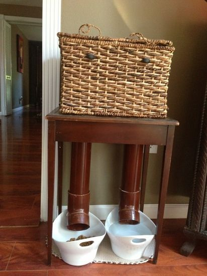If you have trouble bending over to feed your pets, mount some PVC inside an old basket and attach to a table. Never have to bend again.  From Adaptive Equipment OTA 210