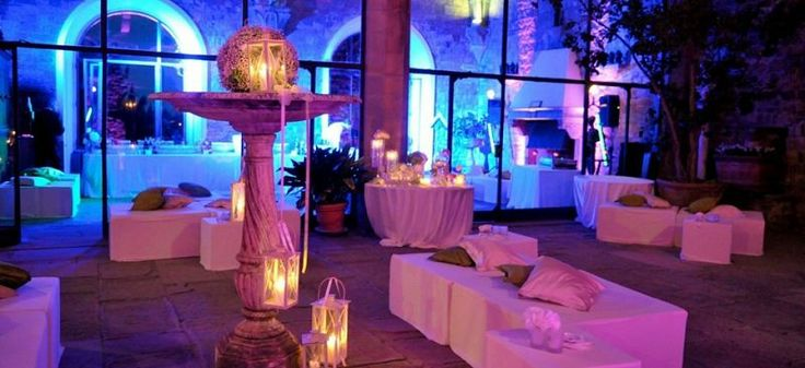 #tuscany #wedding #castle - Florence Wedding Castle 298 | Tuscan Wedding Location in Florence - Castle's Loggia used as loung area for after dinner