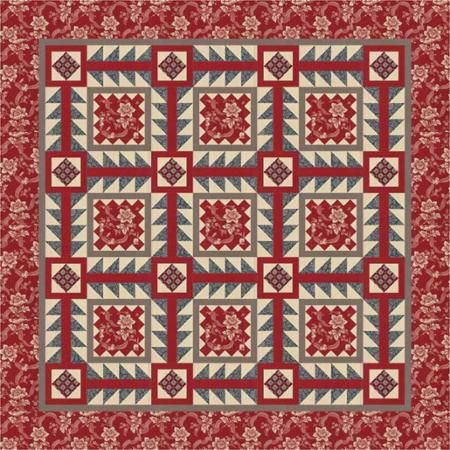Pondicherry quilt pattern by French General design team using fabrics from upcoming Pondicherry line by French General for Moda Fabrics. Anticipated release early 2017.