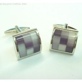 Purple Check Cufflinks - featuring various shades of purple set in a nine square design.